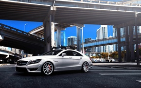 Picture Mercedes-Benz, white, Mercedes, AMG, tuning, CLS63, vossen wheels