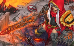 Picture look, girl, weapons, anger, blood, the demon, art, league of legends, riven, glow x