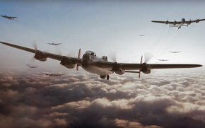 Picture aviation, ww2, Avro Lancaster, painting, war, art