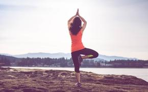 Picture girl, mountains, lake, back, village, solar, Yoga