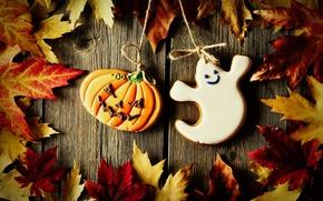 Wallpaper Board, rope, cast, cookies, Halloween, pumpkin, Halloween, maple leaves, glaze