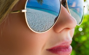 Picture beach, girl, face, reflection, glasses
