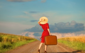 Picture road, the sky, clouds, Girl, dress, suitcase, hat