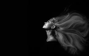 Picture girl, hair, portrait, black background