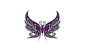 Picture purple, butterfly, minimalism, white background, butterfly