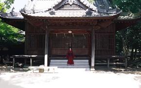 Picture girl, house, art, temple, kimono, yukata, Sunny, erhu