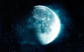Picture space, stars, darkness, moon, soluble moon