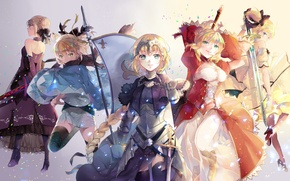 Picture smile, weapons, girls, sword, anime, art, saber, saber lily, fate/stay night, saber extra, fate/extra, saber …
