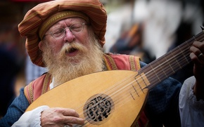 Picture glasses, the old man, beard, musical instrument, singing, lute