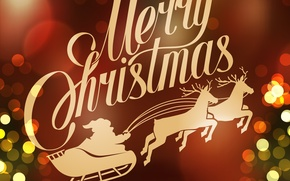 Picture holiday, wagon, Santa Claus, deer, Merry Christmas