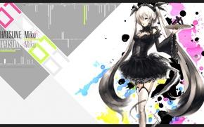 Picture stockings, blots, corset, vocaloid, black dress, Hatsune Miku, long hair, Vocaloid, art, tray, Yakir