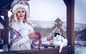 Picture cat, girl, decoration, hat, blonde, fur, shawl, Kalina, ethno