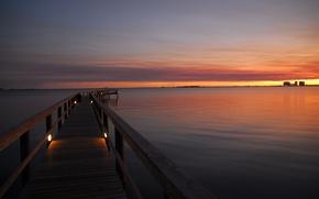 Picture landscape, bridge, lights, river, the evening