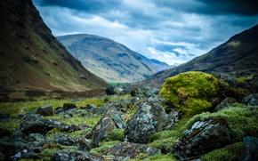 Picture mountains, stones, moss, Scotland, Scotland