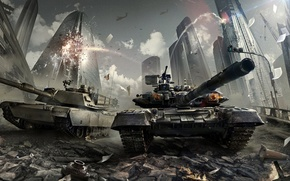 Picture the city, war, home, explosions, skyscrapers, destruction, tank, battle