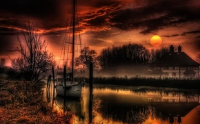 Picture landscape, nature, house, river, the moon, the evening, yacht, hdr