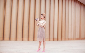 Picture girl, skirt, camera, the camera, blonde, shoes, pink, photographs, relieves