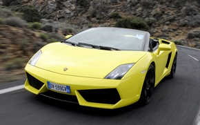 Picture road, movement, convertible, side view, spyder, Lamborghini, Gallardo, lamborghini gallardo lp560-4