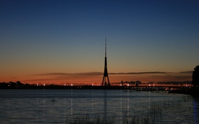 Picture bridge, river, Sunset, beautiful, Riga, Daugava