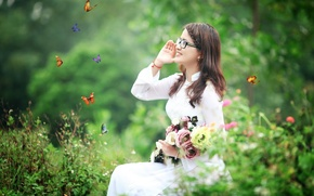 Picture butterfly, flowers, smile, clothing, Girl, Asian
