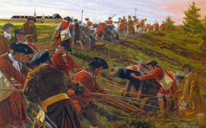 Wallpaper The Siege Of Louisbourg, picture, canvas, Louisbourg, oil, the gunners, battery, gun, British troops, the ...