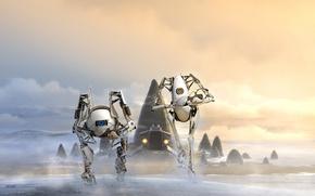 Picture orange, blue, robots, Portal 2, Atlas, Atlas, PI-body, P-body