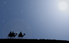 Picture road, the way, star, Christmas, gifts, camels, Journey, gifts, the Magi, Bethlehem