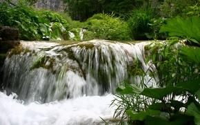 Picture greens, summer, water, landscape, nature, waterfall