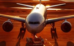 Wallpaper dawn, Airbus, the plane, airport