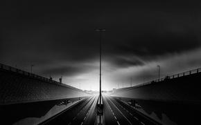 Wallpaper clouds, lantern, road, shadows, Dubai, post, excerpt
