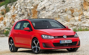 Picture machine, Volkswagen, red, the front, Golf, GTI, 3-door