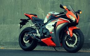 Picture orange, wall, motorcycle, honda, bike, Honda, orange, cbr1000fireblade