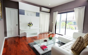 Picture flowers, style, room, sofa, white, interior, table, living room, air conditioning