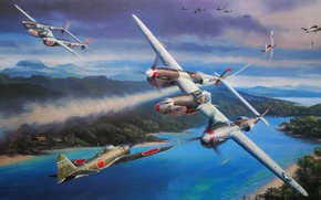 Picture war, figure, Lockheed P-38 Lightning, Oceania, Nicolas Trudgia