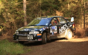 Picture forest, turn, dirt, mitsubishi, rally, evolution, evo VI