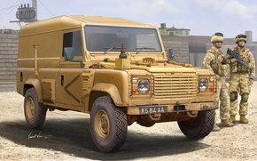 Picture figure, soldiers, Vincent Wai, the SUV, army jeep, Defender 110 Hardtop
