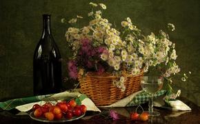 Picture flowers, basket, glass, bottle, still life, chrysanthemum