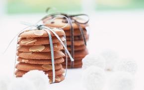 Picture cookies, dessert, ribbon, almonds