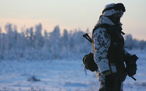 Wallpaper weapons, soldiers, snow, winter