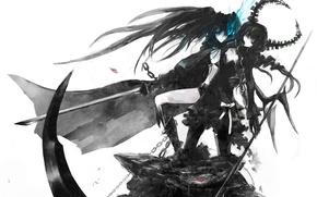 Picture weapons, girls, sword, braid, chain, cloak, takanashi yomi, catch the worm, blue flame, insane black …