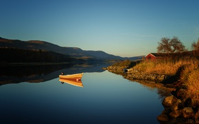 Picture lake, morning, hill, sunrise, dawn, boat, boat house