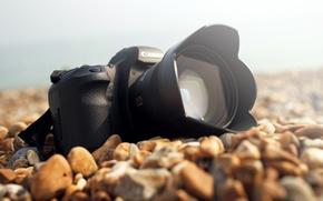 Picture sea, stones, shore, lens, Camera, canon, Sunny day