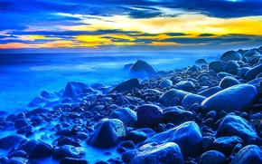 Picture sea, the sky, clouds, sunset, stones