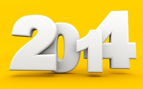 Picture 2014, new year, figures, holiday, yellow background