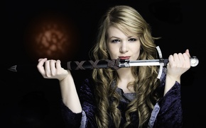 Picture girl, weapons, sword
