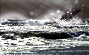Wallpaper sea, animals, energy, freedom, rays, circles, squirt, storm, character, nature, Dolphin
