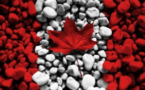 Picture white, red, stones, creative, stone, texture, flags, texture, Canada, maple leaf, canada, flags