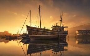 Wallpaper Marina, night, ship, fog