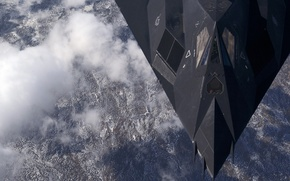 Wallpaper the plane, unobtrusive, F-117, Nighthawk, shock, over, Alaska, subsonic tactical, mountains