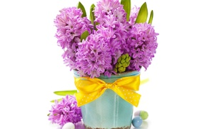 Picture background, eggs, vase, holiday Easter, flowers hyacinths